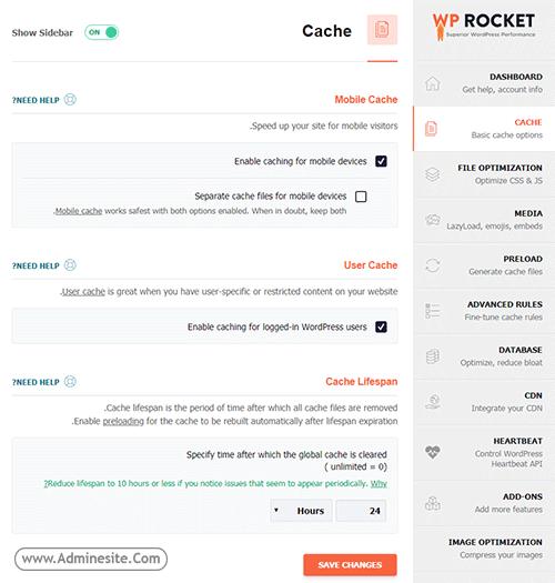 کش سایت با Wp Rocket