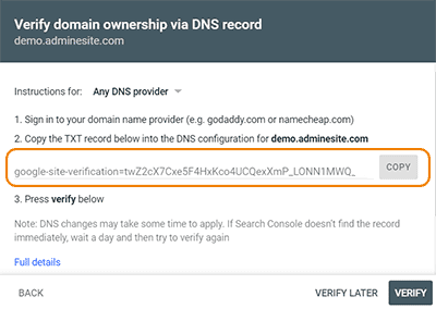 verify کردن در روش Domain