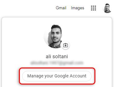 تنظیمات اکانت گوگل