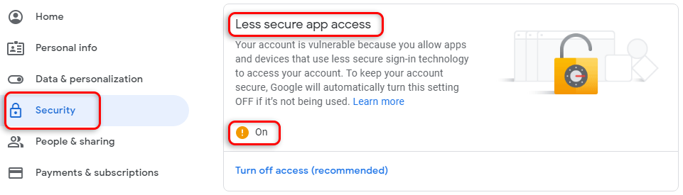 تنظیمات Less Secure app access