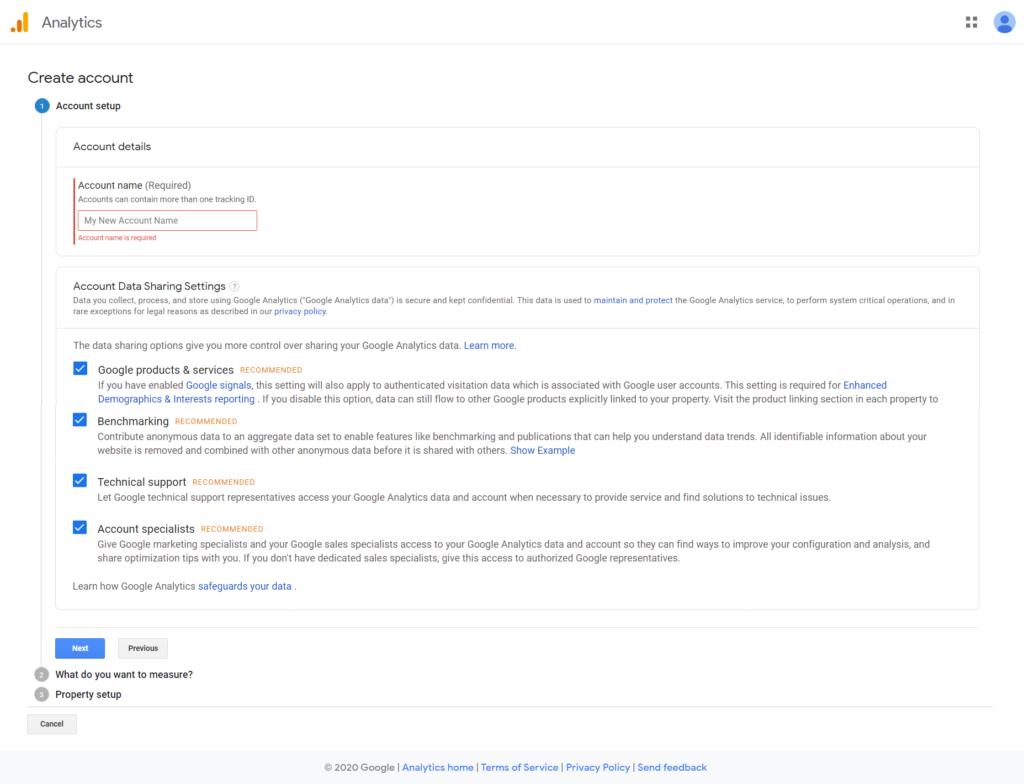 آموزش ثبت سایت در گوگل آنالیتیکس- صفحه ثبتنام