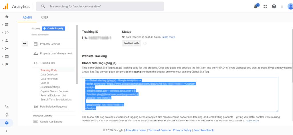آموزش اتصال گوگل آنالیتیکس به وردپرس- کد رهگیری