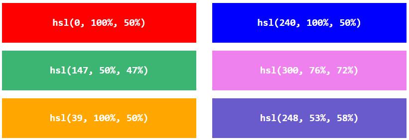 مثالهای از سیستم HSL